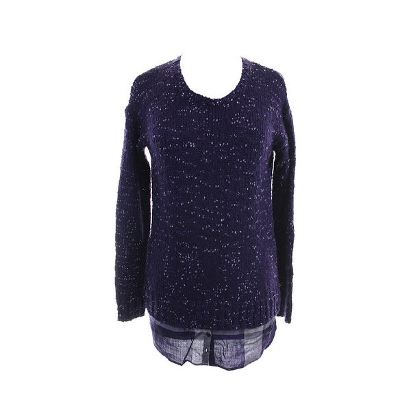 Kensie Purple Combo Long-Sleeve Nep-Knit Layered-Look Sweater M