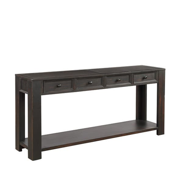Black Console Table With Storage Drawers 64 15 30