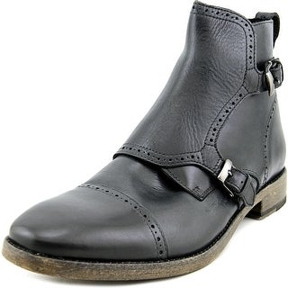 John Varvatos Staley Brogued Monk Men Round Toe Leather Black Boot