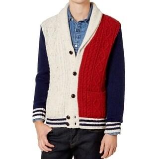 Tommy Hilfiger Blue Mens Size Large L Shawl Cardigan Wool Sweater