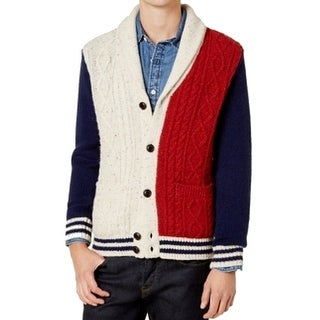 Tommy Hilfiger Mens Large Shawl Cardigan Wool Sweater