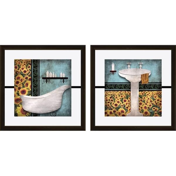 PTM Images 1-17006 Sunflower Bathroom Wall Art (Set of 2) - Black - N/A