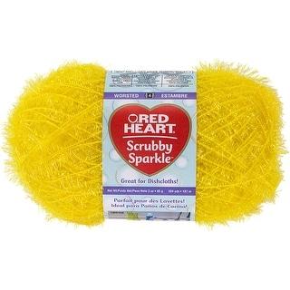 Red Heart Scrubby Sparkle Yarn-Lemon - lemon