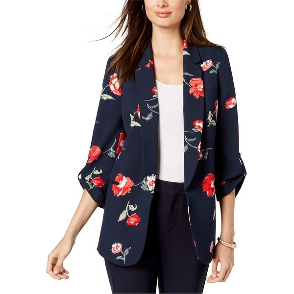 Nine West Womens Floral Blazer Jacket, blue, Small. Opens flyout.