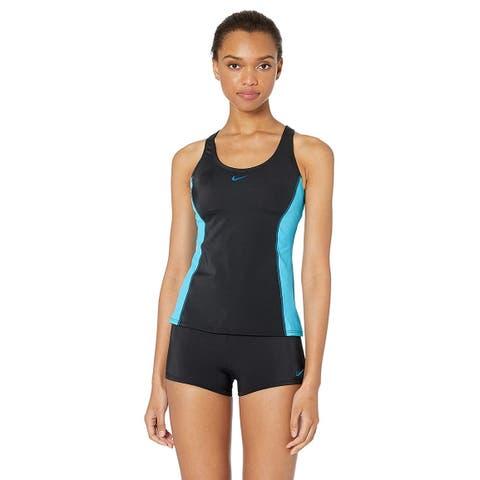 Nike Swim Women's Color Surge Powerback Tankini Swimsuit, Black, Size X-Large