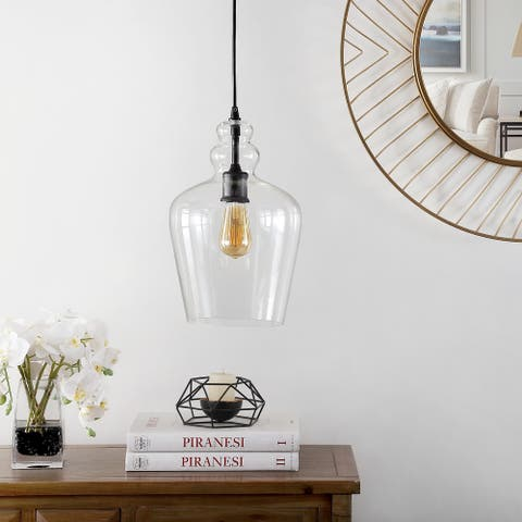 "Safavieh Lighting Catlen Glass LED Adjustable Pendant - 9"" W x 9"" L x 17-89"" H"