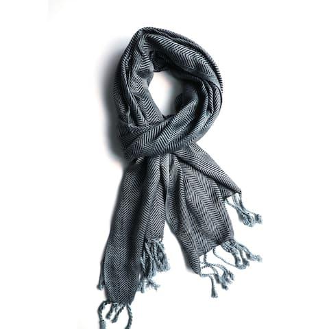 In-Sattva - Grey Zig-Zag Textured Handwoven Artisan Bohemian Scarf Stole, Gray