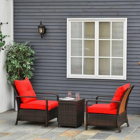 Outsunny 3 Piece PE Rattan Wicker Bistro Set with Cushions, Conversation Furniture Set for Backyard, Garden, Patio