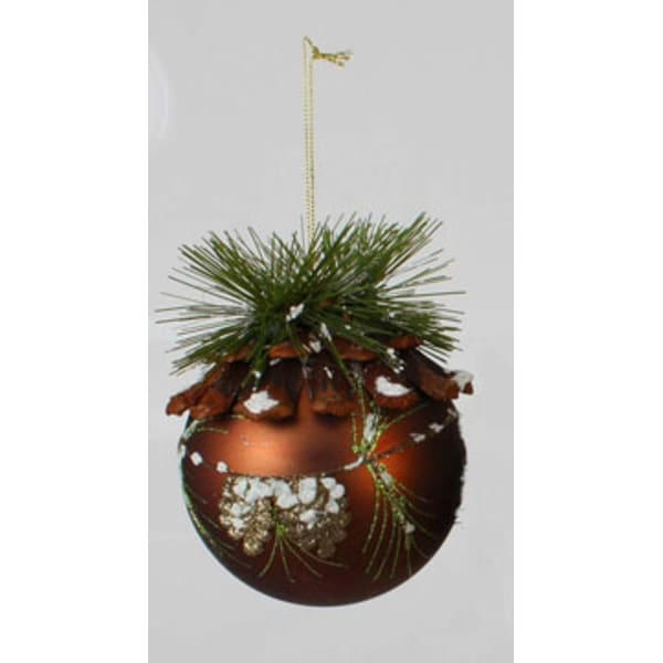 "Modern Lodge Frosted Pine Brown Glitter Glass Christmas Ball Ornament 5"" (100mm)"