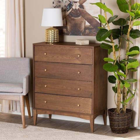 Landis Mid-Century Modern Ash Walnut Finished Wood 4-Drawer Chest