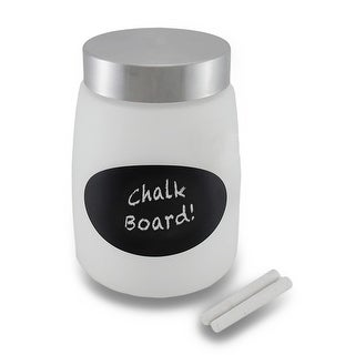 Frosted Glass Storage Jar w/Metal Lid and Chalkboard Label