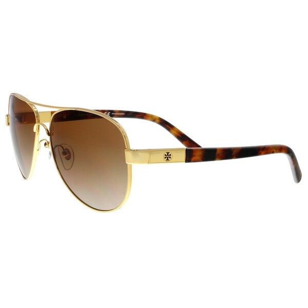 93335ead3807 Shop Tory Burch TY6010 462/13 Gold Tortoise Aviator Sunglasses - no ...