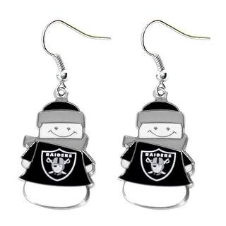 Oakland Raiders NFL SNowman Holiday Dangle Logo Earring Set Charm Gift