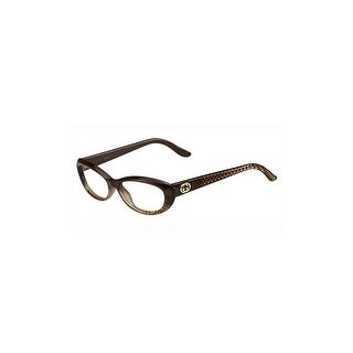 gucci womens eyeglasses 3566 w9b16 plastic oval brown gold frames