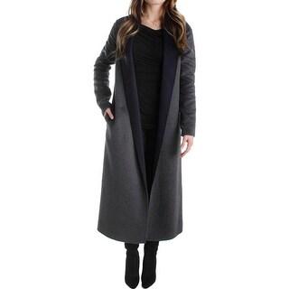 T Tahari Womens Hannah Long Coat Wool Open Front