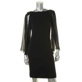 JS Boutique Womens Embellished Bell Sleeves Cocktail Dress