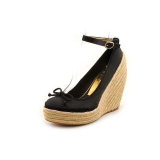 BCBG Max Azria Sevilla Women  Open Toe Canvas Black Wedge Sandal