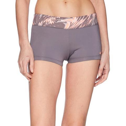 Nike Womens Marble-Print Swim Boyshorts, Crimson Pulse, Large