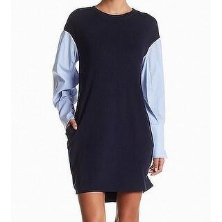 ECI Blue Women's Size 12 Striped Poplin Sleeve Ponte Shirt Dress