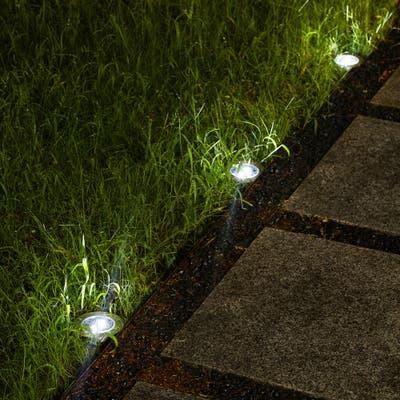 "Glitzhome 5.25""H Set of 6 Solar Powered LED Pathway Ground Lights - Black"