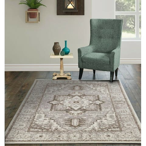 Copper Grove Somero Distressed Grey Medallion Area Rug