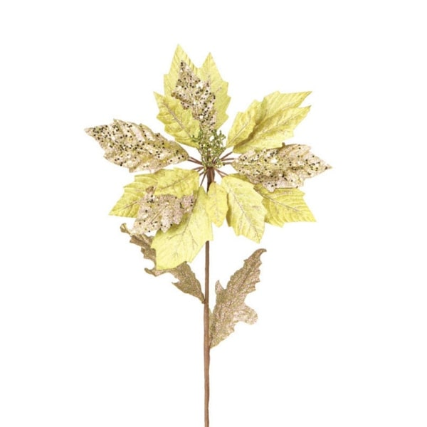 Club Pack of 12 Winter Solace Gold Glitter Poinsettia Stem Christmas Picks 30""