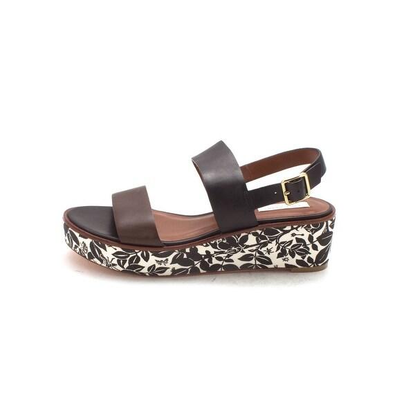 Cole Haan Womens 14A4027S Open Toe Casual Platform, Black/Chestnut, Size 6.0