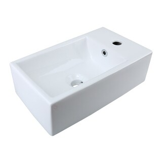 Small White Vessel Sink Vitreous China Rectangle Scratch and Stain Resistant Easy Clean