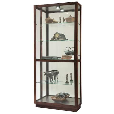 Howard Miller Jayden Contemporary Modern, Sleek and Chic, Chocolate Brown Wood, Tall, 5-Shelf Living Room Curio Cabinet