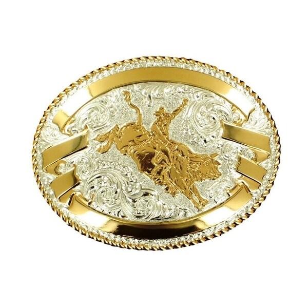 Crumrine Western Belt Buckle Bullrider Oval Ribbon Silver Gold - 3 1/2 x 4 5/8