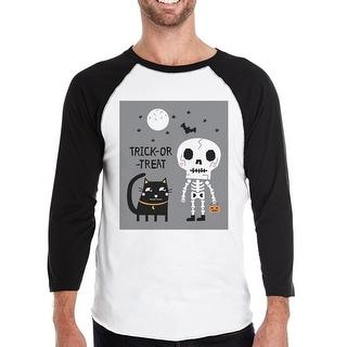 Skeleton Black Cat Halloween Costume T-Shirt Baseball Raglan Shirt