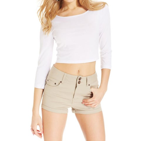 Dollhouse Womens Juniors Casual Shorts High Waist Cuffed