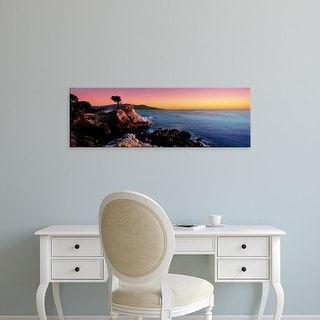 Easy Art Prints Panoramic Images's 'Silhouette of Lone Cypress Tree at a coast, 17