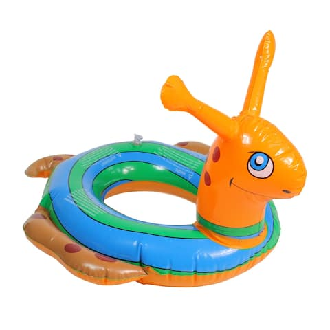 Inflatable Orange and Blue Snail Swimming Pool Tube Ring Float, 24-inch