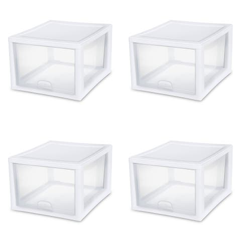 "Case of 4 Sterilite 27 Quart Stacking Drawers - 17.38"" wide"
