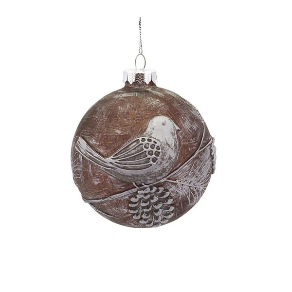 "4"" Winter Light Weathered Brown Glass Ball Christmas Ornament with Pine Cone & Bird Accent"