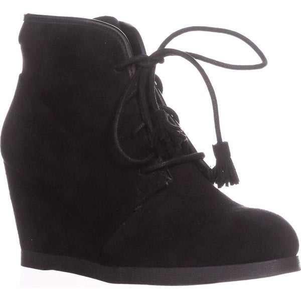 madden girl Dallyy Lace Up Wedge Ankle Booties, Black - 7.5 us