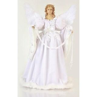"""18"""" Unlit White Angel Holding Garland Christmas Tree Topper"""