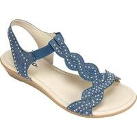 Rialto Women's Gemma T-Strap Sandal Dark Blue Denim Fabric
