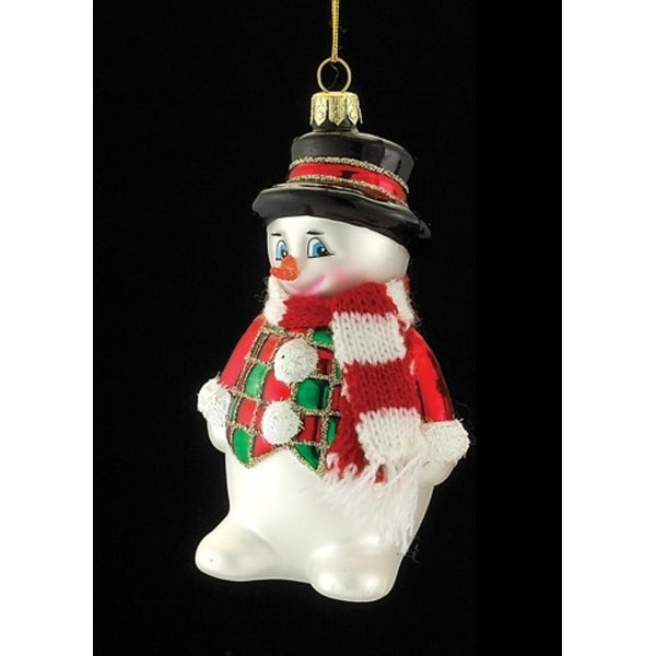 """4.5"""" Noble Gems Glass Snowman with Red and White Scarf Christmas Ornament"""