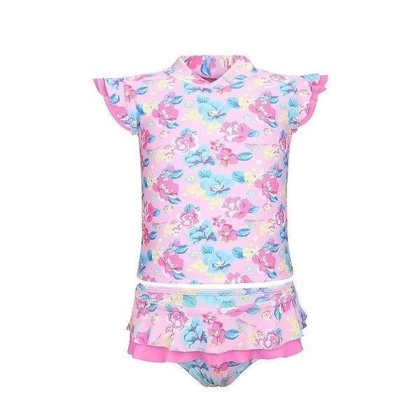 Sun Emporium Baby Girls Pink Vintage Blossom Sun Shirt Nappy Cover Set