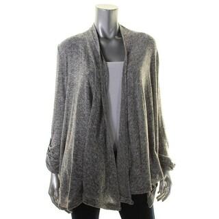 Cupio Womens Cardigan Sweater Heathered Roll-Sleeve - s