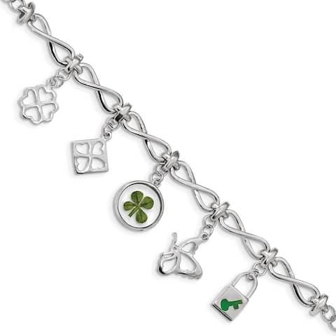 """925 Sterling Silver Plated Clover Epoxy Enamel Bracelet, 6"""" w/15in Extender"""