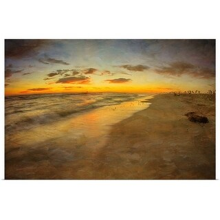 Poster Print entitled Beach and sunset - multi-color