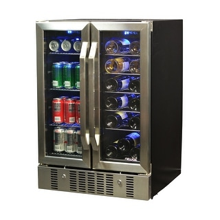 NewAir AWB-360DB 18 Bottle & 58 Can Dual Zone Built-In Compressor Wine & Beverage Cooler - stainless steel & black