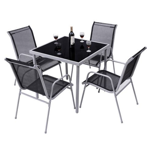 Costway 5 PCS Bistro Set Garden Set of Chairs and Table Outdoor Patio