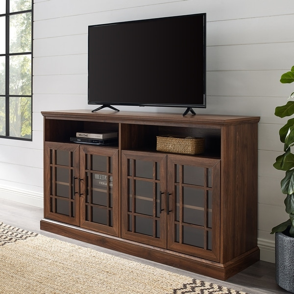 """Copper Grove 58"""" Framed Glass 4-Door TV Console. Opens flyout."""