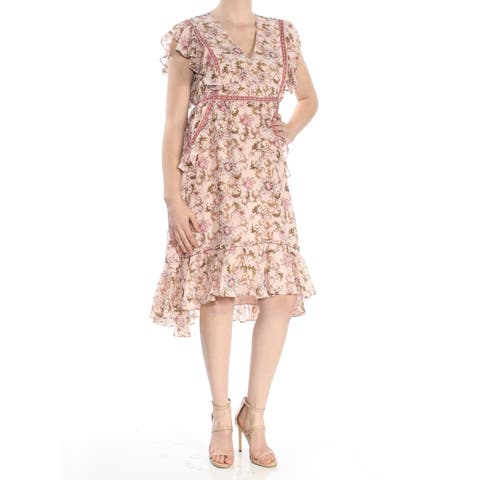 ef116c8bd0a35a MAX STUDIO Womens Pink Ruffled Sheer Printed Short Sleeve V Neck Knee  Length Empire Waist Dress