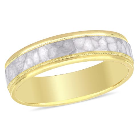 Miadora Ladies Hammered Wedding Band in 2-Tone 10k Yellow and White Gold (5mm)