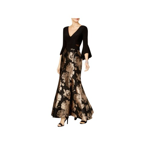 Xscape Womens Petites Evening Dress Flare Sleeves Full-Length